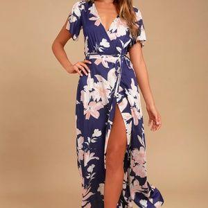 Lulu's Azalea Regalia Navy Blue Floral Wrap Dress